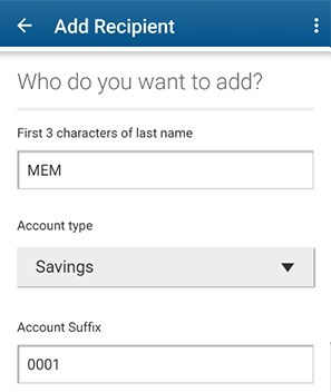 Enter the account information for your new recipient