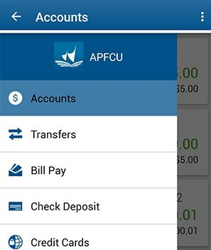 Select Transfers in the Mobile App