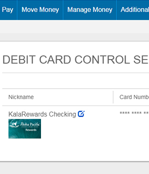 Debit Card Control Step 3 - Enrollment Completed