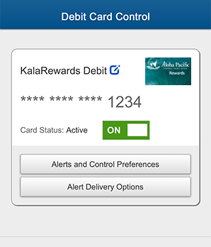 Debit Card Control Step 3 - Enrollment Completed in Mobile App