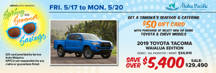 Servco Auto Waipahu's Spring Into Summer Savings sale is May 17 to May 20.