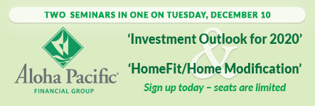 Two Seminars in one on Tuesday, December 10. 'Investment Outlook for 2020' and 'HomeFit/Home Modification'