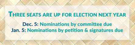Three seats are up for election next year. Dec. 5: Nominations by committee due. Jan. 5: Nominations by petition & signatures due